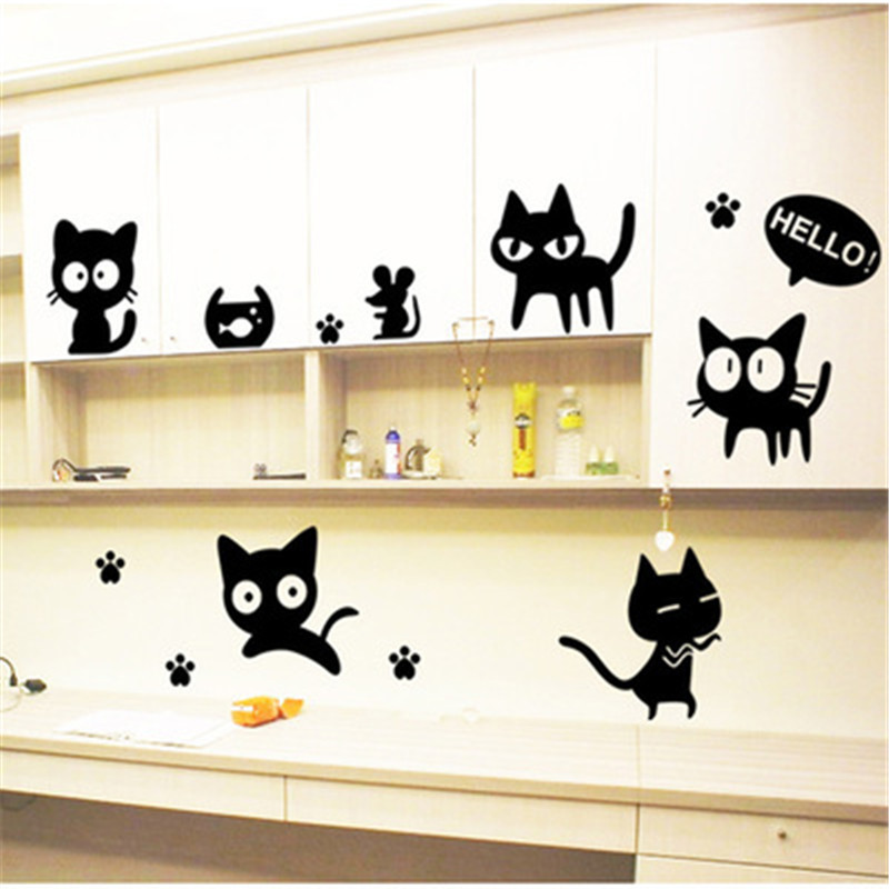 Vinyl Wall Stickers Wallpaper Animal Cartoon Black Cat Family Living Room Sofa Wall Decals House Decoration Poster Home Decor Wall Stickers Aliexpress