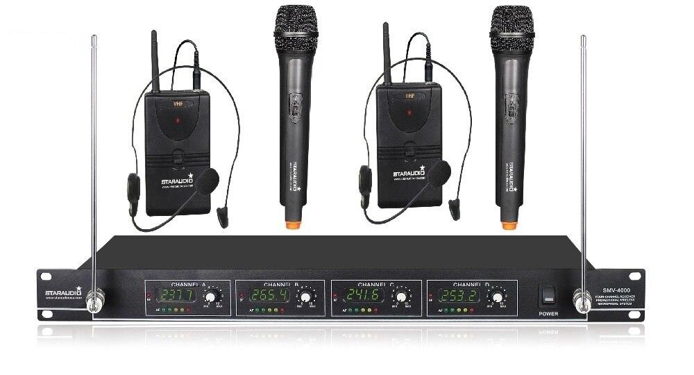 STARAUDIO Wireless PA DJ Mic System 4Ch Hand Head Headset Pro Stage VHF Microphone SMV 4000A