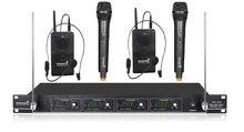 STARAUDIO SMV-4000A + B Pro PA DJ Stage Igreja 4 Canais Sistema de Microfone Sem Fio VHF com 2 Handheld 2 Fone de Ouvido Mics