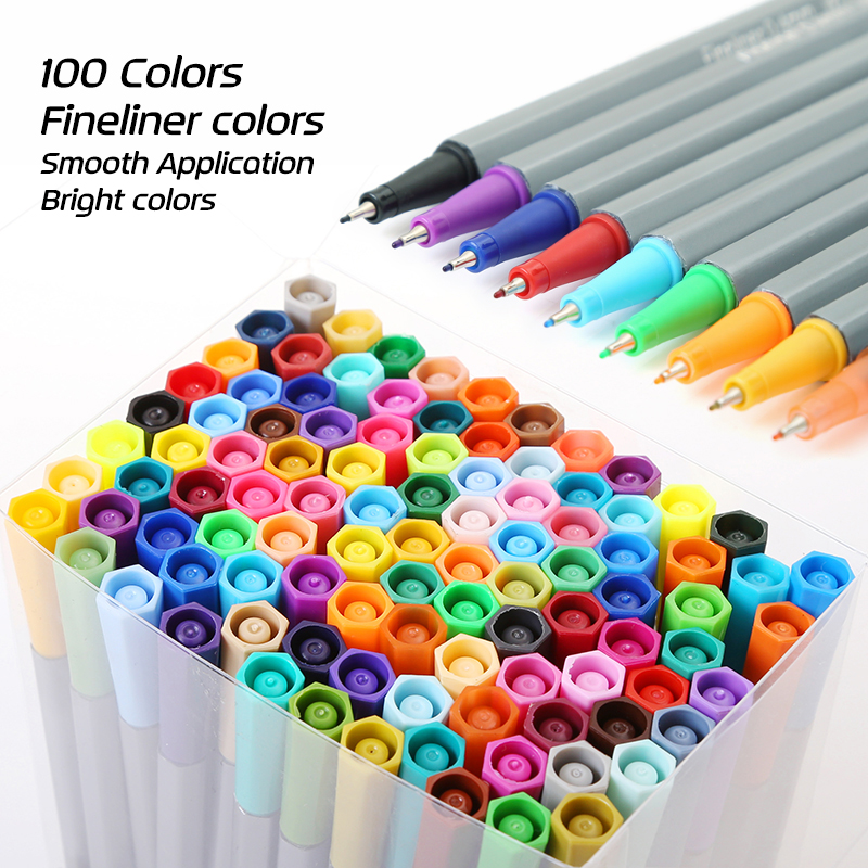 0.4Fine Tip 100 Colors Set Fineliner Pens Superfine Bright Colors Marker Pen For Arts Drawing Detail Writing Pen Hook Fiber Pen