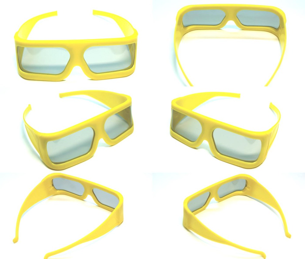 Wholesale 100pcs Plastic yellow Frame IMAX 3d glasses polarized linear 3d glasses for 3D movies 45