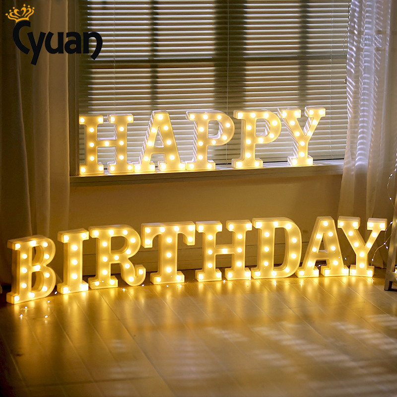 A-Z белый деревянный светодиодные фары письмо знак алфавита Ночные светильники Крытый стены стол Декор Craft для Одежда для свадьбы, дня рожден...
