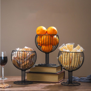 Wine Glass Wrought Iron Snack Storage Basket Snack Tray Dessert Fruit Basket d2(China)