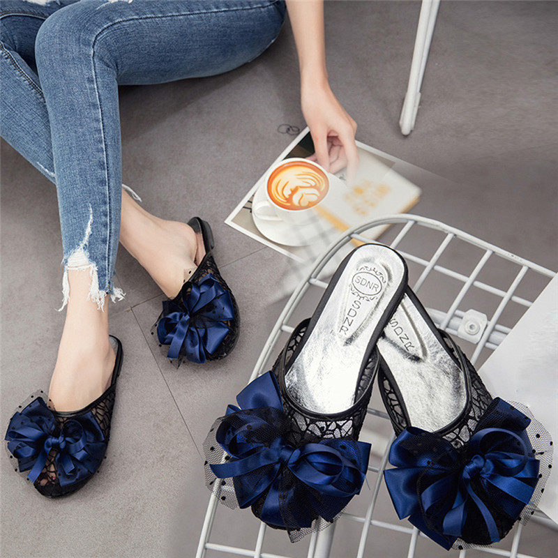 Women Summer Beach Slippers Fashion Girls Shoes Flat Heels Flip Flops Bohemia Lace Bow Sandals pantoufle femme zapatos de mujer wgznyn 2017 fashion women sandals summer breathable hollow out beach slippers shoes casual flat flip flops zapatos mujer