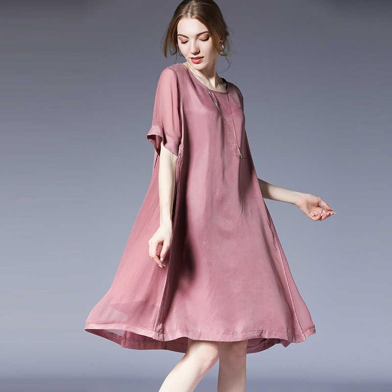 Plus size dresses women casual loose fashion Elegant dress light mature  woman High waist short sleeve office lady dress