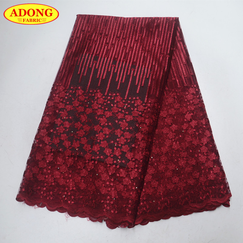 Burgundy Embroidery French Tulle Lace Fabric With Stones African Net Lace Fabric High Quality For African