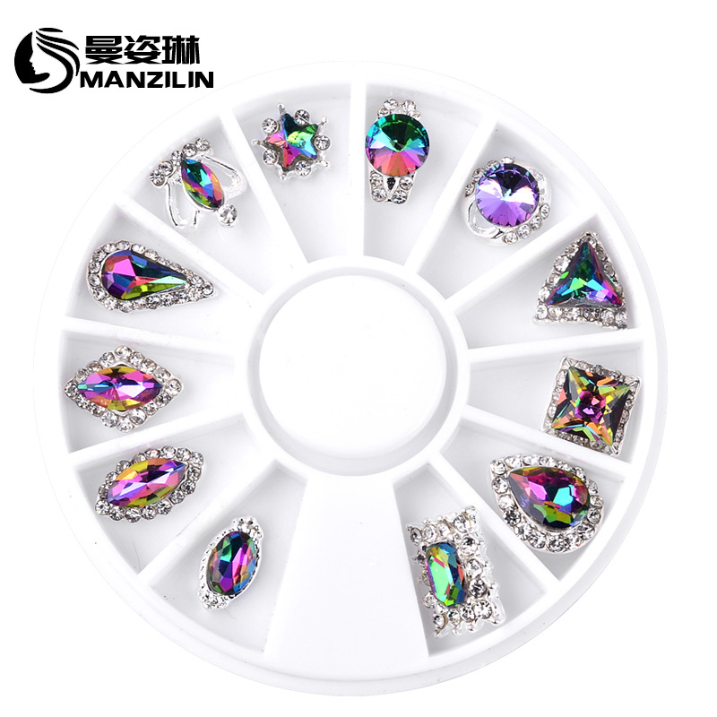 Colours Profiled AB Crystal Wheel Nail Stickers Decoration 3D DIY Nail Art Tips Jewelry Glass Rhinestones Manicure tools ...