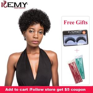 Image 1 - Афро странный фигурные парики Кеми волосы короткие парики человеческих волос для черный Для женщин натуральный черный, красный Цвет бразильский Волосы remy парики
