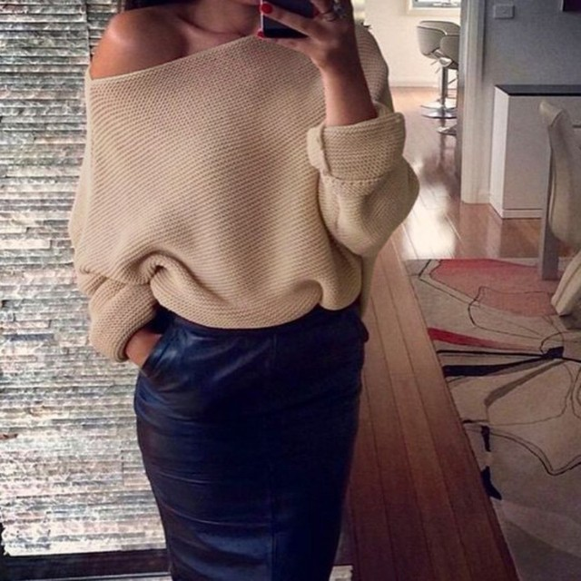 Autumn Winter Knitted Long Sleeve Sweaters Pullovers Tops Female Sexy Off Shoulder Solid Batwing Sleeve Sweater Jumper