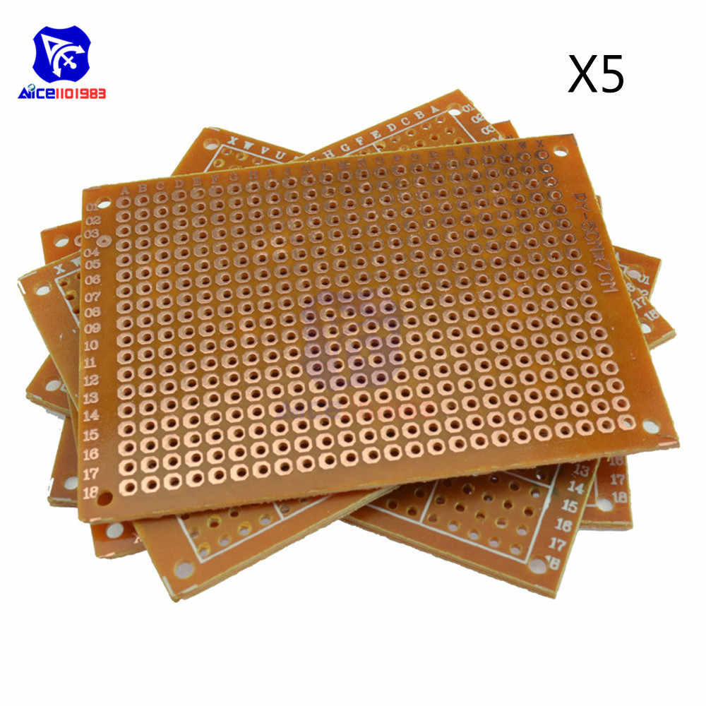 5PCS Universal PCB Board 50x70mm 2,54mm Loch Pitch DIY Prototyp Papier Printed Circuit Board Panel 5x7 cm Einseitig Bord