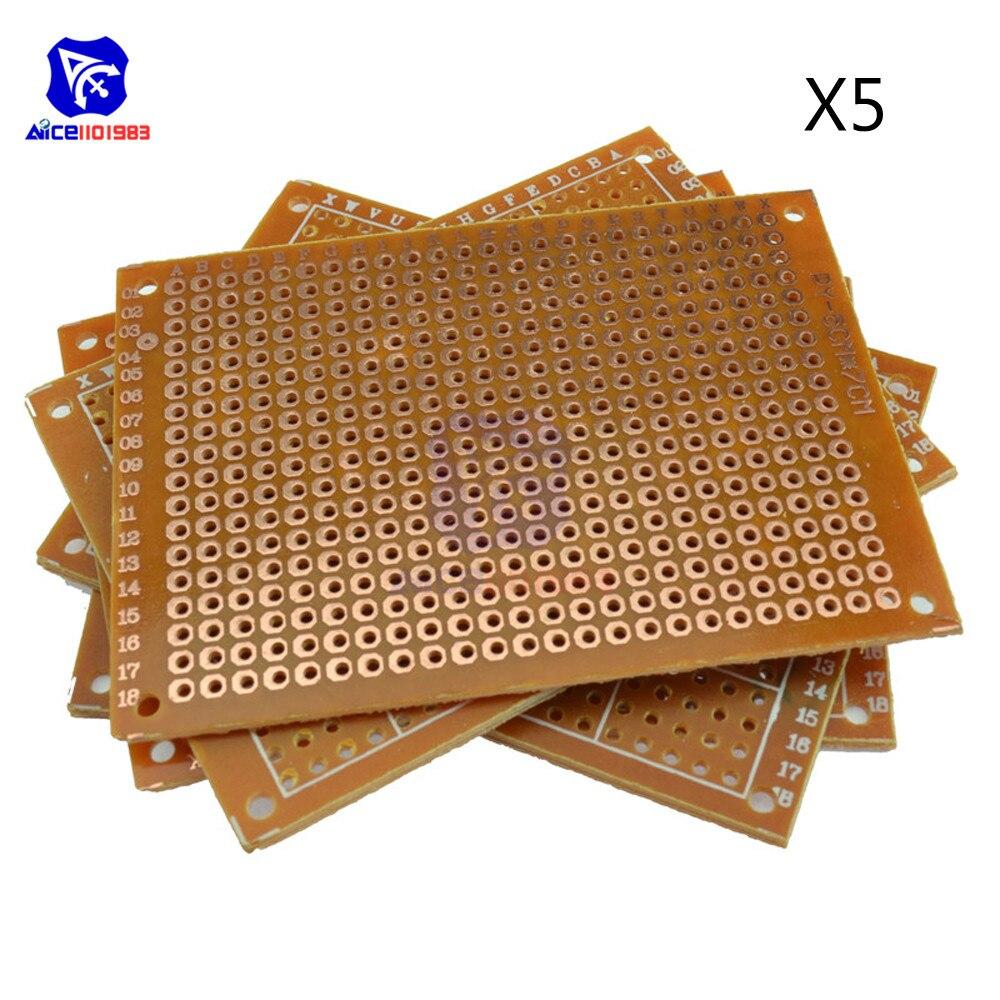 5 pces placa universal do pwb 50x70mm passo do furo de 2.54mm diy protótipo papel impresso placa de circuito painel 5x7 cm única face placa
