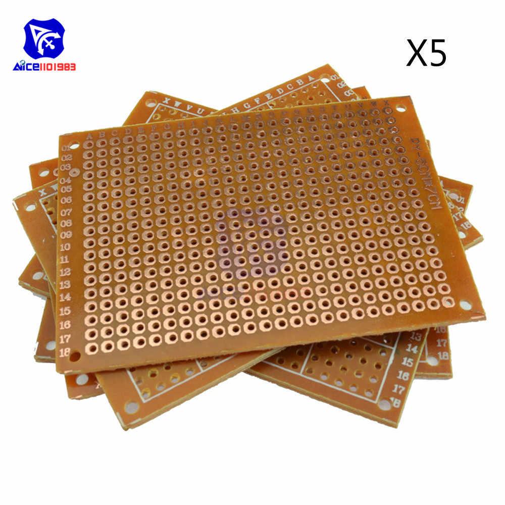 5 pièces universel carte de Circuit imprimé 50x70mm 2.54mm trou pas bricolage Prototype papier panneau de Circuit imprimé 5x7 cm simple face panneau