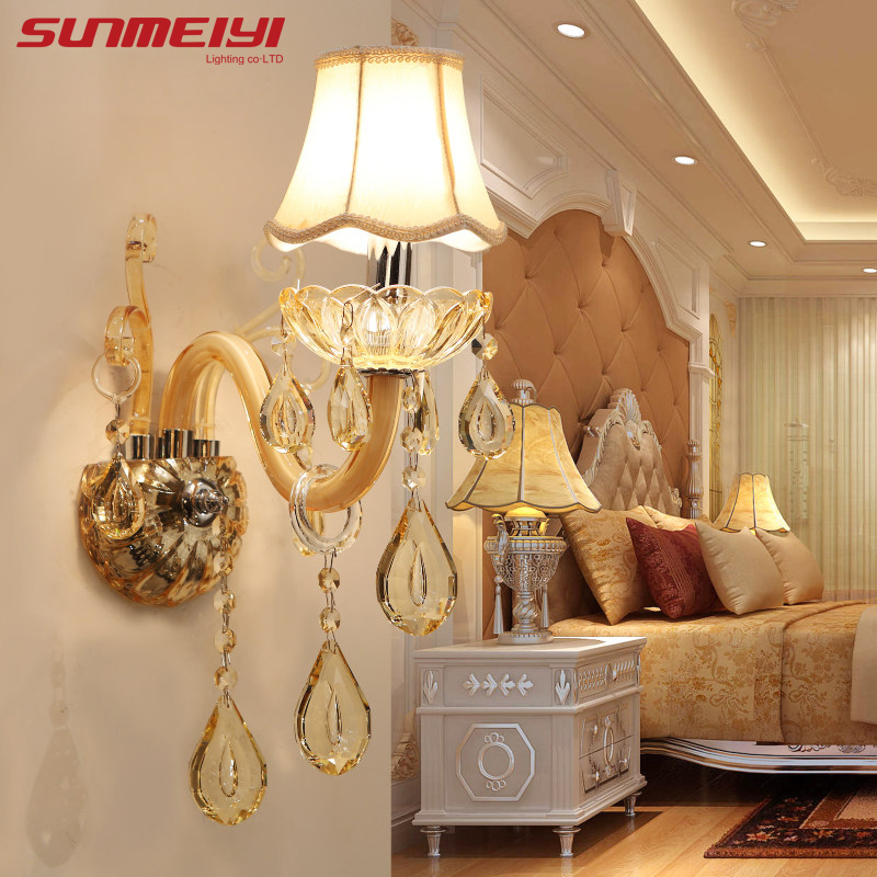 European Design LED Luxury Hanging K9 Crystal Wall Lamps Bedroom Headboard Bedside Lamp Wall Sconce Light Fixture стоимость