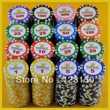 PK-6006 50pcs/pack Clay 14g Poker Chips insert metal 15 denomination
