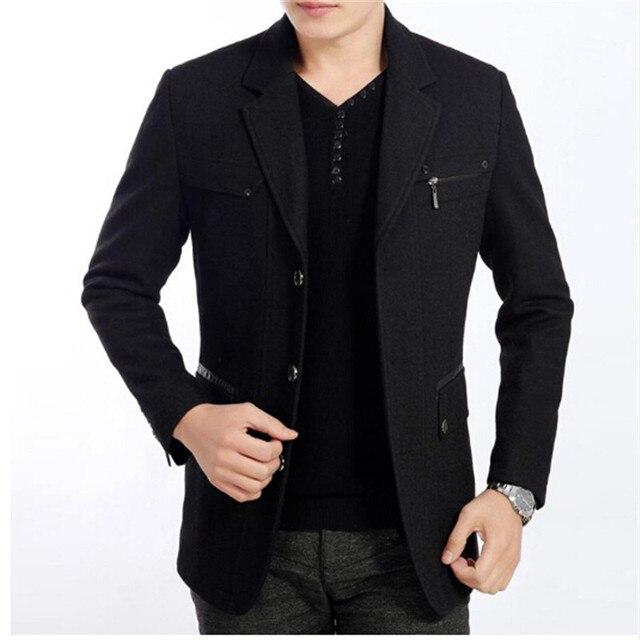 2016 High Quality New winter 50% Wool blend Blazer Men Casual Outwear Slim Party Business Men suit Black gray plus size XXXL