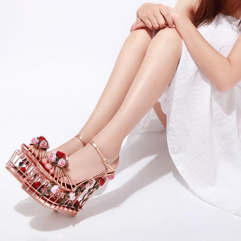 Unique Design High Platform Wedge Sandals Elegant Wedding/Party Shoes 17CM Super High Heel Abnormal Cage Heels Summer Sandals