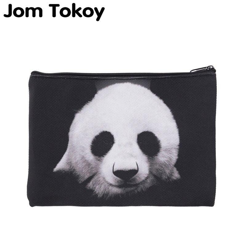 Jom Tokoy 2019 Hot Sale Travelling Makeup Bag 3D Printing Black Panda Zipper Square Cosmetic Bags Women