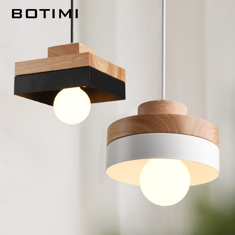 BOTIMI Wooden LED Pendant Lights For Dining lustres e pendentes Small Wood Hanging Lamp Metal Restaurant Luminaria Light Fixture italy novelty rainbow pendant lights for dining room 1 3 head hallway kitchen tiffany light hanging lamp lustres e pendentes