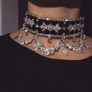 KMVEXO 2019 Мода ожерелье-чокер со стразами Цепочки и ожерелья бархат заявление Цепочки и ожерелья для Для женщин ожерелье-чокер ювелирные изделия вечерние подарок