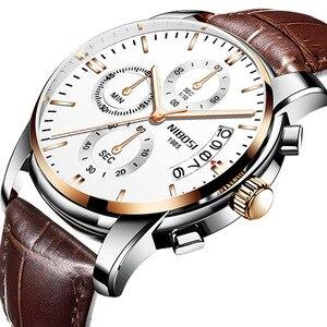 Image 2 - Moda męski zegarek biznesowy NIBOSI marka Sport zegarki kwarcowe wodoodporne zegarki skórzany pasek dla biznesu Relogio Masculino