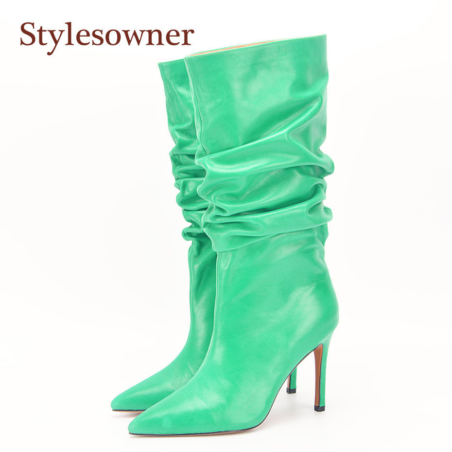 Stylesowner 2018 Fashion Women Boots Pointed Toe Slip On Pleated Ladies Boots Sexy Super High Thin Heel Knee High Boots Size 42 цены онлайн
