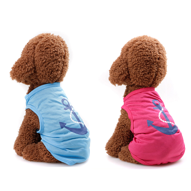 Fashion Pet Dog Vest Cute Cartoon Anchor Heart Printed Dog Clothes for Cat Puppy Pink Blue T-Shirts Party Customes (4 Size)