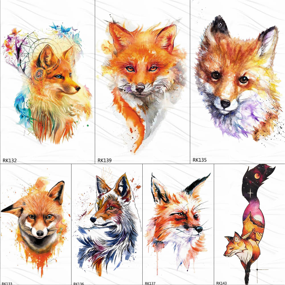 OMMGO Tribal Fox Series Temporary Tattoo Stickers Watercolor Fake Tattoos For Women Men Custom Flash Waterproof Tatoos Body Art