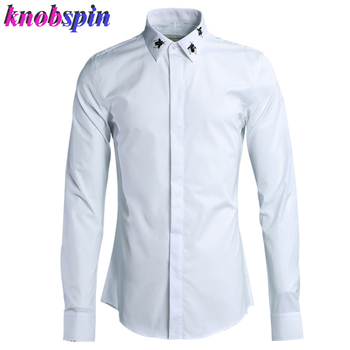 Beading Bee Embroidery Mens Shirt Brand quality 80% Cotton long sleeve Chemise homme Solid Slim Casual Business male Shirts 2019
