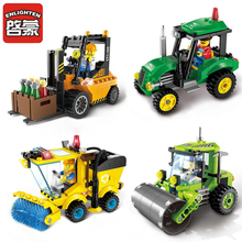 цена на Enlighten  City Cars Street Sweeper Tractor Road Roller Building Block Compatible Bricks City Blocks Toys for Children