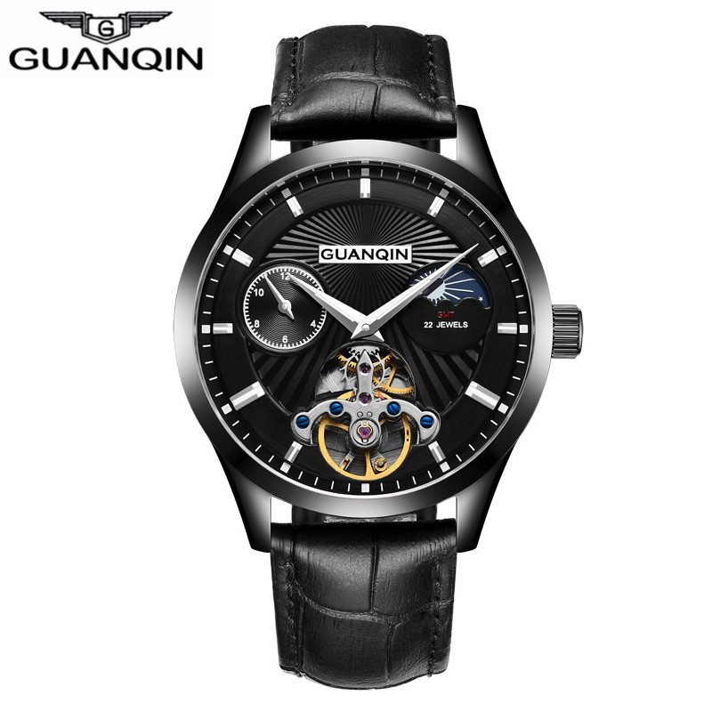 GUANQIN 2018 Men Sport Tourbillon Automatic Mechanical Watch Top Brand Luxury Leather Moon Phase Watches Support dropshipping guanqin watch men sport mens watches top brand luxury tourbillon automatic mechanical watch luminous analog clock leather strap