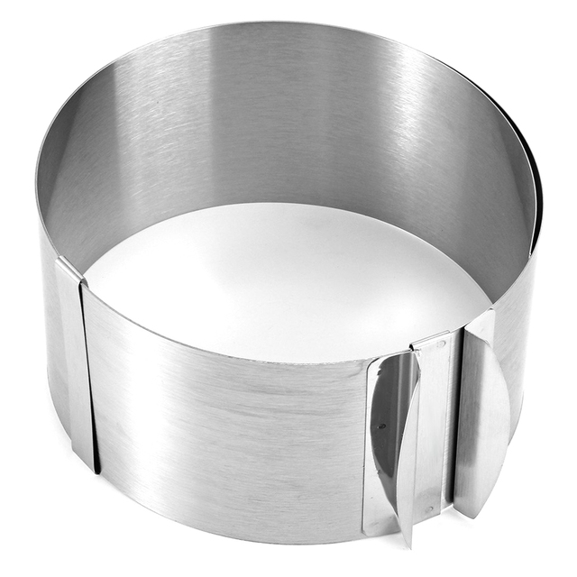 Выдвижной круглый мусс из нержавеющей стали кольцо для выпечки торта набор инструментов размер, форма Регулируемая посуда для выпечки сере...