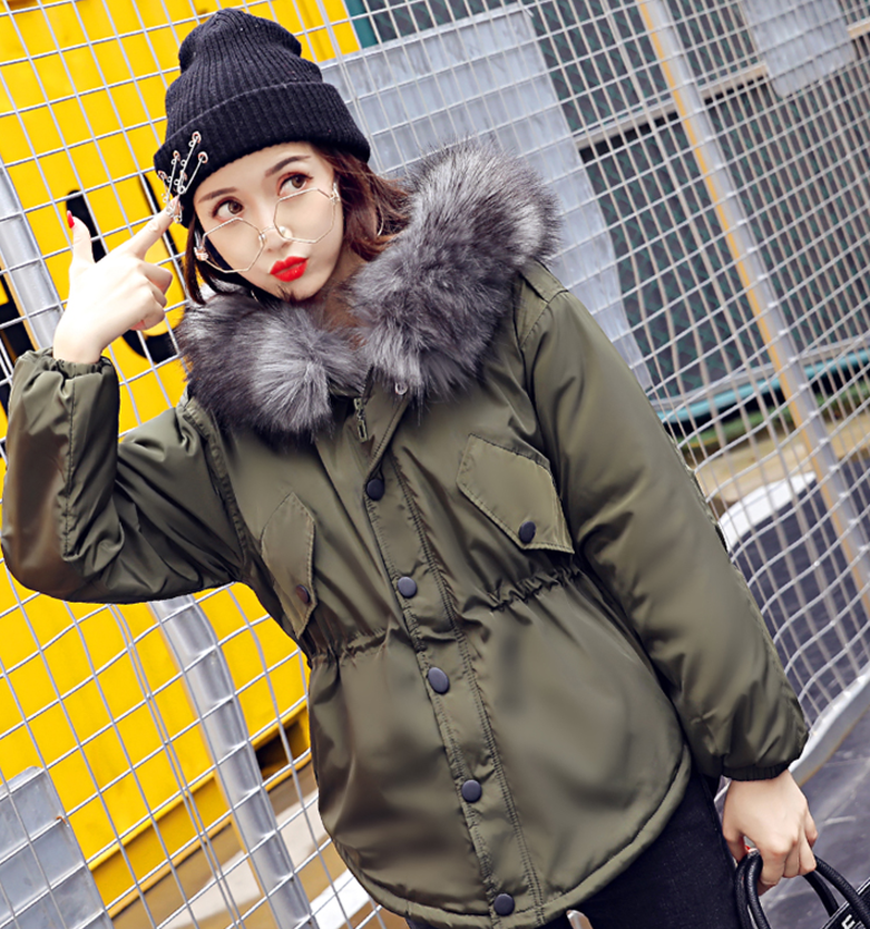 2017 Black Winter Jackets Women Large Fur Hooded Coat Thicken Parkas Outwear Fashion Loose feathers jacket Winter Coat female fur and feathers