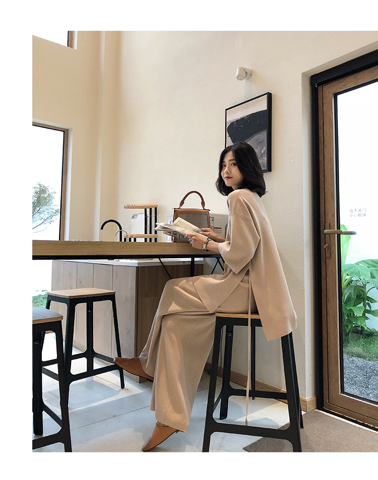 Knitting Female Sweater Pantsuit For Women Two Piece Set Knitted Pullover V-neck Long Sleeve Bandage Top Wide Leg Pants  Suit 19