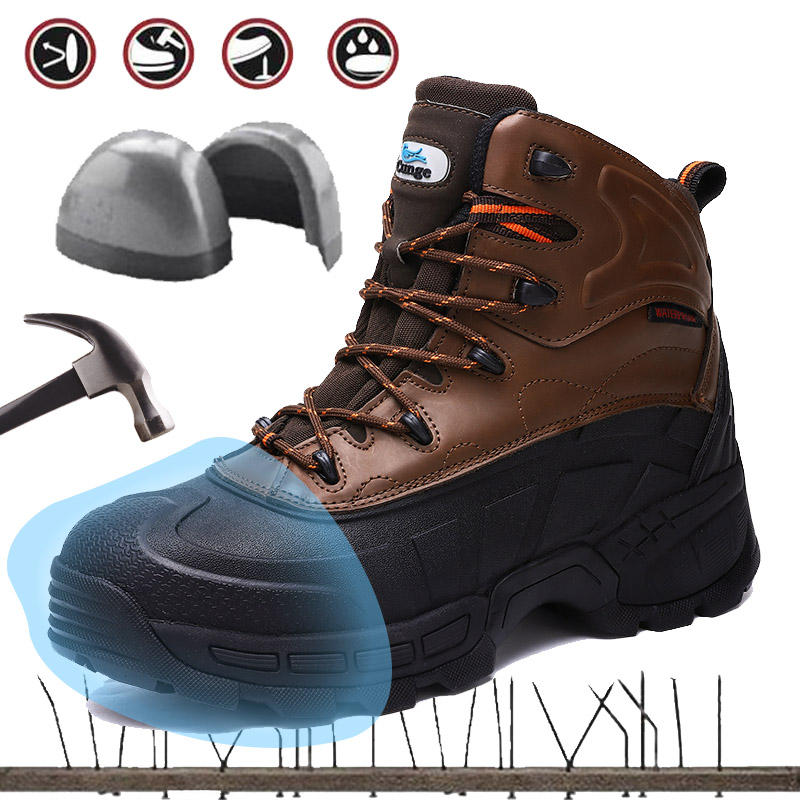 Cunge Outdoor Mens Steel Toe Shoes Safety Work Shoes Men Safety Hiking Shoes Men Combat Hunting