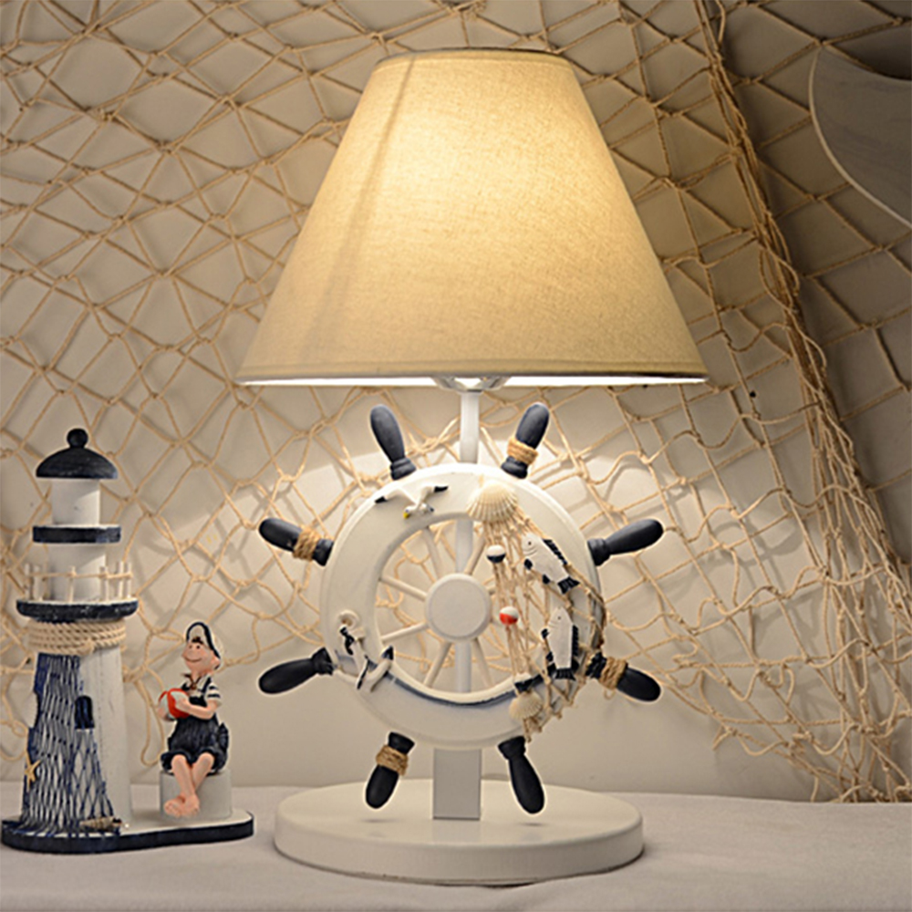 HGhomeart Cartoon Luminarias Mediterranean Style Boy Bedroom Led Table Lamp E27 110V-220V Switch Button Bedside Lamp Light