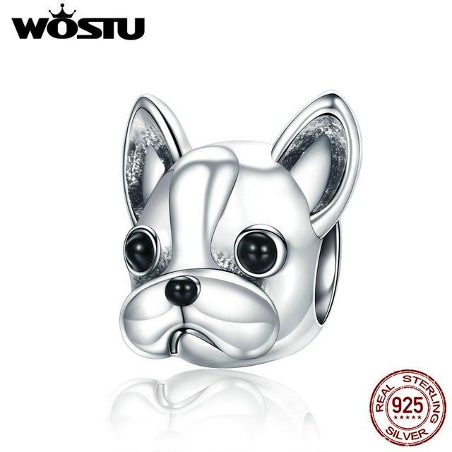 WOSTU 100% 925 Sterling Silver Cute Bulldog Pet Beads Fit WST Charm Bracelet DIY Jewelry Making Gift CQC315