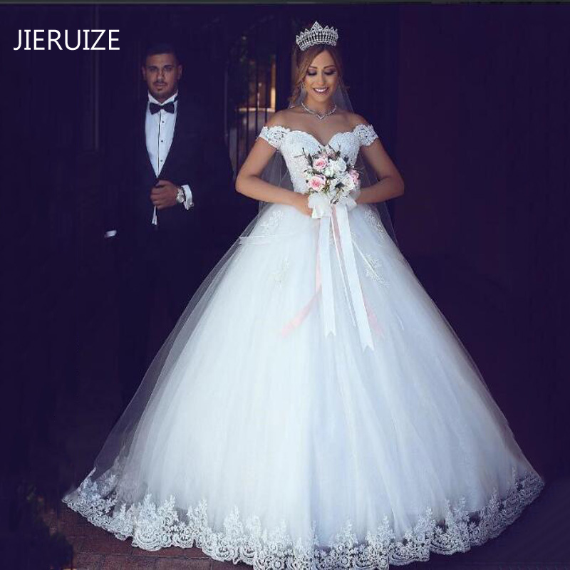 JIERUIZE White Lace Appliques Ball Gown Cheap Wedding Dresses Off The Shoulder Short Sleeves Bridal Dresses Wedding Gowns