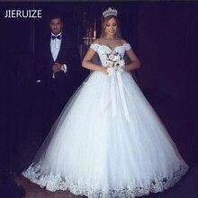 JIERUIZE biała koronkowa suknia balowa z aplikacjami tanie sukienki ślubne 2020 Off The Shoulder krótkie rękawy suknie ślubne suknie ślubne