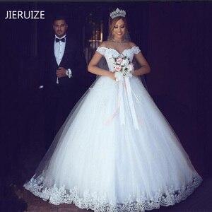 Image 1 - JIERUIZE белое свадебное платье с кружевной аппликацией, дешевые свадебные платья 2020 с открытыми плечами и коротким рукавом, свадебные платья