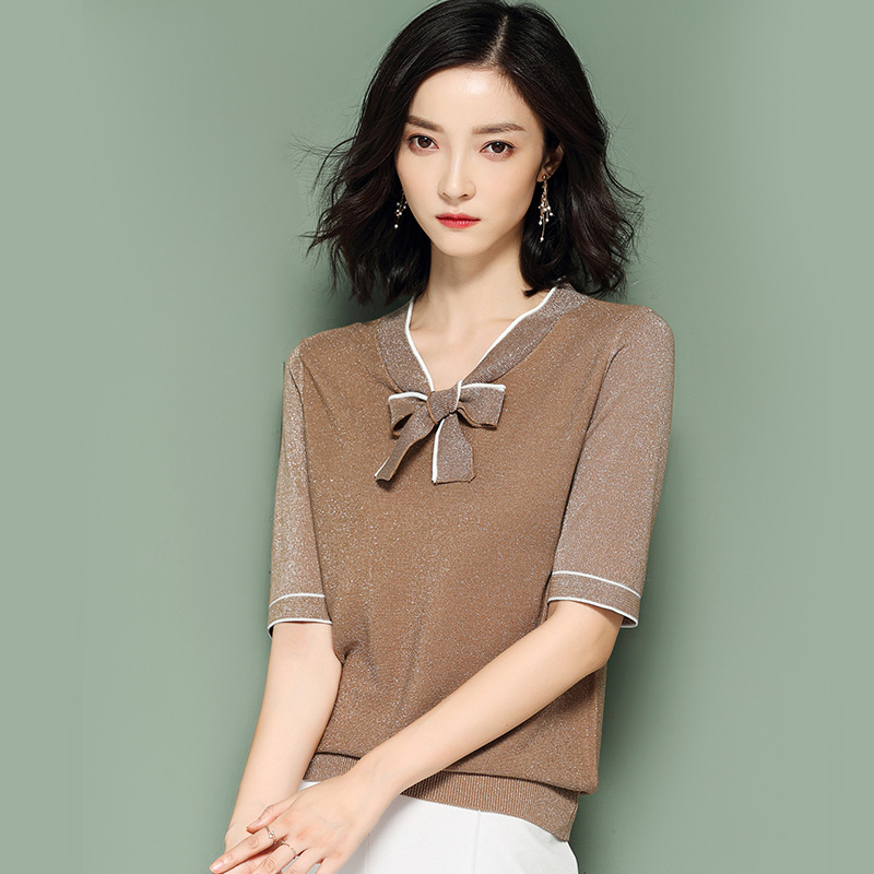 JoursNeige Knitted Pullovers Women 2018 New Summer Bow V-Neck Stripped Short Sleeved Stella Filante Jumper Knitwear Thin Sweater