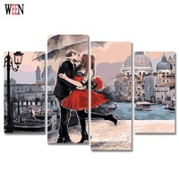 HD Printed Framed 4PC Kiss Lover Canvas Art Wall Pictures For Living Room Romantic Poster Directly