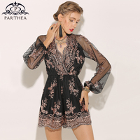 Parthea Sexy Jumpsuit Sequin Playsuit Rompers Womens Jumpsuit Long Sleeve Metallic Sheer Mesh Lace Bodysuits Overalls 2018 Body