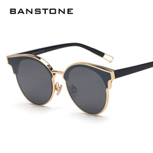 BANSTONE Women Cat Eye Sunglasses Classic Brand Designer Semi Rimless