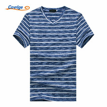Covrlge 2018 Striped Men T-shirt Fashion Design V-neck Brand Summer High Quality Short Sleeve T Shirts Free Shipping MTS465