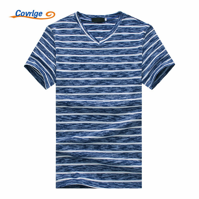 838efe565 Covrlge 2018 Striped Men T-shirt Fashion Design V-neck Brand Summer High  Quality Short Sleeve T Shirts Free Shipping MTS465