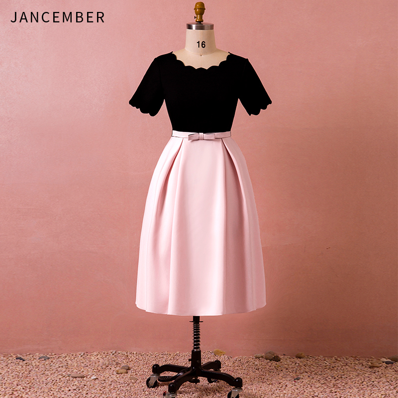 JANCEMBER Plus Size   Cocktail     Dresses   O-Neck Short Sleeve Bow Belt A-Line Knee-Length Zipper Back Simple   Cocktail   Gown Latest