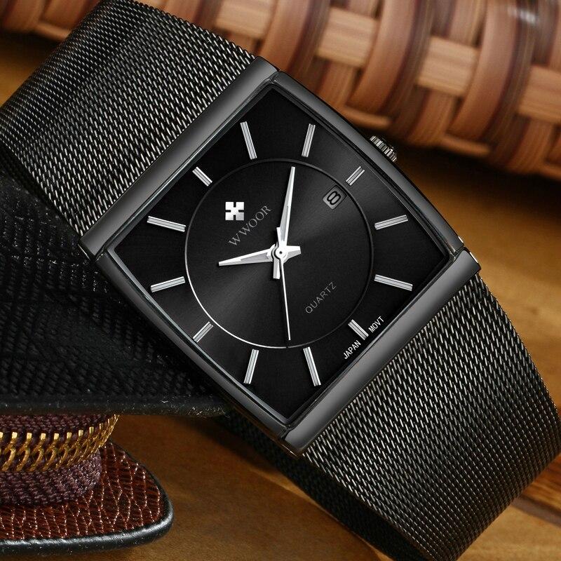 Image 3 - 2019 WWOOR Top Brand Luxury Mens Square Quartz Watches Male Waterproof Date Clock Black Mesh Stainless Steel Wrist Watch For MenQuartz Watches   -