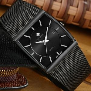 Image 2 - Full Đen Đồng hồ nam 2019 thương hiệu cao cấp mặt Vuông kinh doanh Đồng hồ đeo tay nam nam 2019 thể thao chống thấm nước Đồng Hồ Relogio Masculino