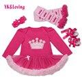 Conjunto Infantil de la Ropa del bebé Muchachas de Los Niños de Cumpleaños Minnie Tutú del Vestido Del Mameluco del Mameluco de los Trajes/Mono Headband Warmer Zapatos Recién Nacidos