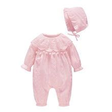 Newborn Baby Clothing 2019 New Baby Girls Cute Pink Lace Pricess Dress Infant Baby Cotton Long Sleeved Rompers Climbing Jumpsuit picturesque childhood 2018 baby footies cotton long sleeved long sleeved yellow stripe balloon climbing suit